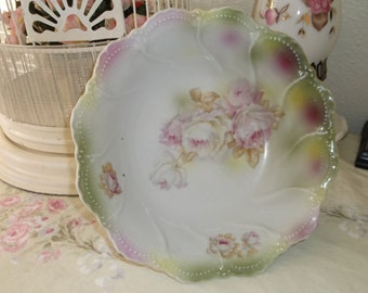 Victorian Shabby Cabbage Rose Serving Bowl