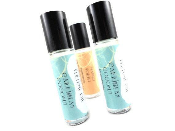 Perfume / Caribbean Coconut Perfume Oil - Tropical Island Fruit, Fresh Coconut - Roll On Perfume - 8mL