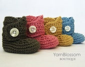 Baby CROCHET PATTERN Baby Button Boots (4 sizes included from newborn to 24 months) Instant Download