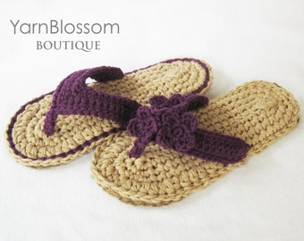CROCHET PATTERN - Indoor / Outdoor Violet Flip Flops -  Women's sandals flip flop pattern crochet slippers PDF pattern digital download