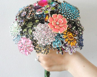 X-Large Colorful Wedding Brooch Bouquet - Blue, Pink, Green, Purple, Orange, Yellow, Red