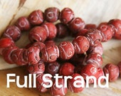 CLEARANCE -Less than Half Price - Full Strand Rustic Handmade Terracotta Red Beads 10mm beads   TCBSTR-RD