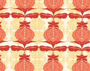 72076 Free Spirit Tina Givens Lilliput Fields Pomegranate in Ivory color - 1 yard