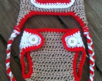 Newborn Crochet Sock MONKEY n Matching DIAPER COVER Tan Red White Earflap Hat With Braids -- Adorable Photo Prop