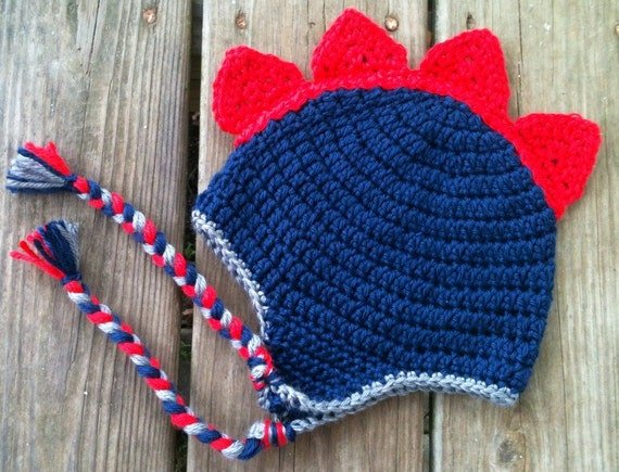 Baby Toddler Boy Crochet DINOSAUR Spike Earflap Hat with Braids - Sizes: Newborn to 10 yrs - Winter Hat - You Pick Colors