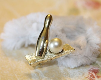 Vintage Golden Bowling Pin With Faux Pearl Ball Pin / Brooch