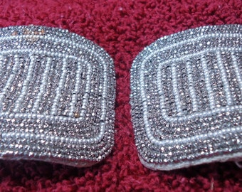 """Vintage 'Made in France' men's shoe buckles.  Steel cut with beading. 1.75"""" high, by 2.5"""" across.  Lovely condition.  PFM12.1-8.2"""