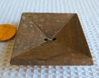 """1Wooden button, large square 1"""" by 1"""" and 2"""" diagnoal, inverted pyramid shape. 2 hole. LB12.5-10.25.6."""