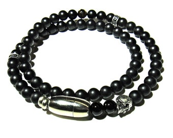 COOLER- Mens, double wrap Onyx bracelet with magnetic clasp