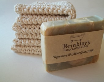 Natural Cotton Washcloth and Soap Bar of Your Choice