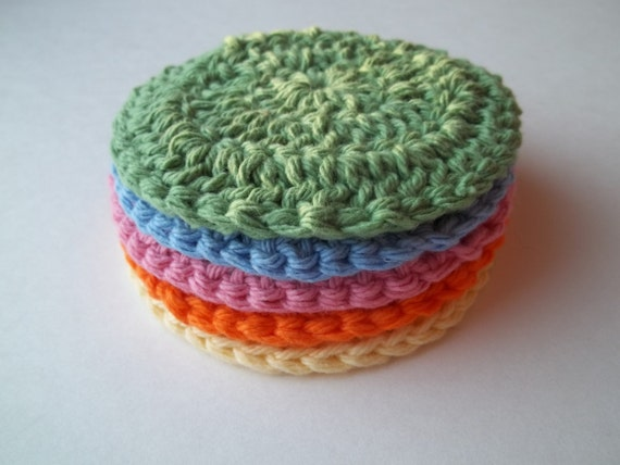 5 Round Cotton Crochet Cloths - Rainbow
