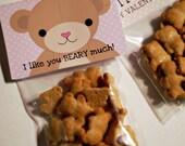 Teddy Bear Valentine Kids Card- VALENTINE Teddy Bear Love - Class DIY Craft Digital Printable - Instant Download