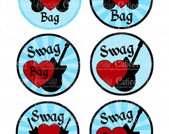 Rock Star Baby Shower Swag Bag Tags Digital Large ROUND Tags N Toppers PRINTABLE