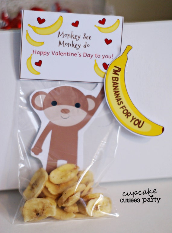 Monkey Love Craft SET Fold over Valentine Card Craft Digital Printable U PRINT