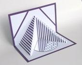 25th Anniversary 3D Pop Up Card CUSTOM ORDeR 4 Kerri STAIRS 2 HEALTH Handmade in White on Bright Shimmery Metallic Purple OOaK