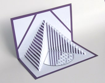Pop Up 3D Card STAIRS TO SUCCESS Home Décor, Handmade Geometric Design Origamic Architecture in White on Bright Shimmery Metallic Purple.