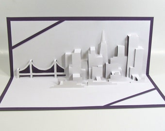 SAN FRANCISCO SKYLINE Pop Up 3D Card Home Decoration Origamic Architecture Hand Cut in White and Purple. Folds Flat. Unique Impressive Gift