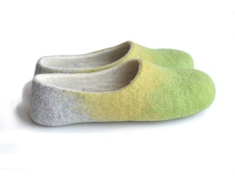 Handmade wool felted slippers - house shoe - earth - spring color - apple green - aniseed yellow-grey