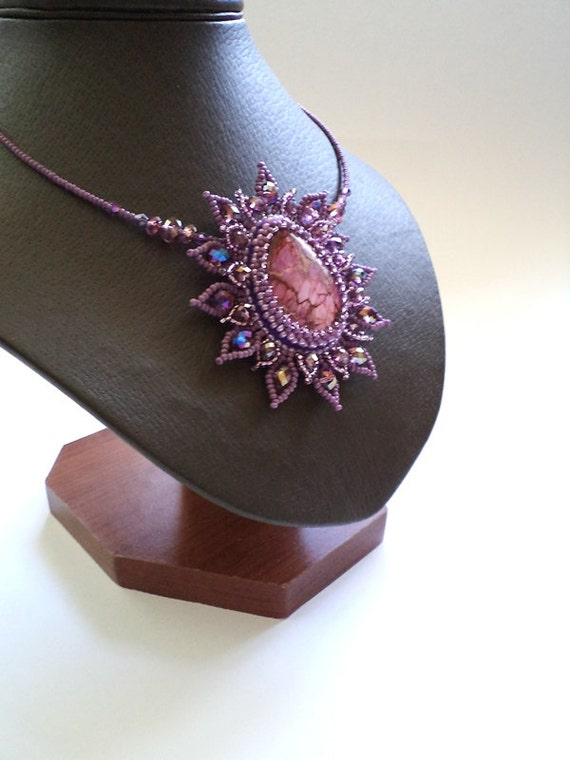 Stone Necklace, Embroidered Pendant , Seed Beads Necklace, Purple  Variscite Necklace,  Teardrop Pendant