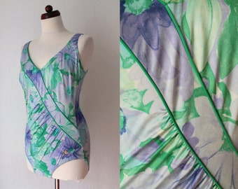 Vintage Swimsuit - 1980's Pastel Floral Swimsuit - Lavender and Green Bathing Suit - Size L
