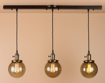 Chandelier Lighting - Linear Pendant Lights w/ Grey Smoke Glass Globes and Edison Light Bulbs - Oil Rubbed Bronze or Satin Nickel Finish