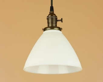Pendant Light w/ Waffle Print Milk Glass Shade - Hand Finished in Oil Rubbed Bronze - Vintage Style Kitchen Light