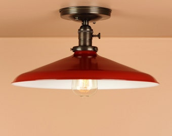 Semi Flush Lighting w/ 14 inch Red Porcelain Enamel Shade - Oil Rubbed Bronze / Satin Nickel  - Lighting for Low Ceilings - Downrod Option