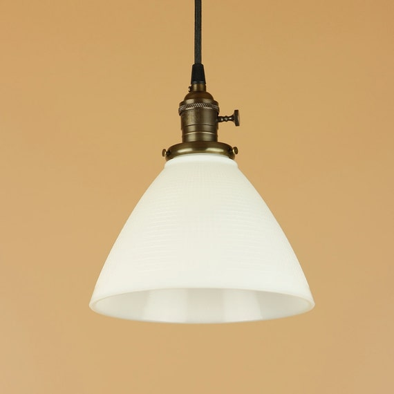 Pendant Light W/ Waffle Print Milk Glass Shade Hand Finished