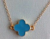 Double Connected Gold Enamel Clover Necklace