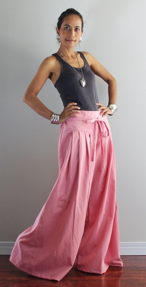 Pink Wide Leg Pants Cotton Linen Pants Casual Wear : Soul