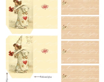 LOVE VALENTINE NOTES - Printable Digital envelopes and vintage note cards in two sizes 873s