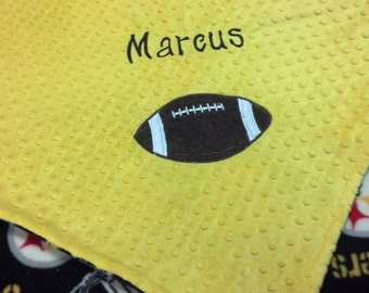 Personalized Pittsburgh Steelers Football Fleece and Minky Baby Blanket with football applique