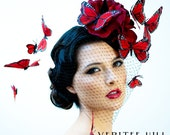 Veritee Hill Black and Red Butterfly Metal Spike Velvet Flower Hat Headpiece w/ Netting READY TO SHIP