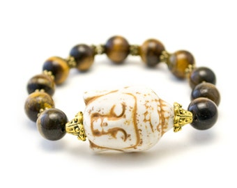 Tigers Eye Buddha Bracelet, Yoga Bracelet, Wrist Mala Beads
