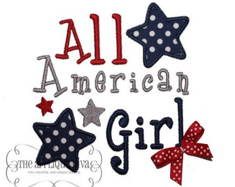 4th of July All American Girl  Digital Embroidery Design Machine Applique