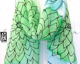 Silk Scarf Handpainted, Gift for Women, Green and White Scarf, Mint Green and Blue floral scarf, Silk Chiffon Scarf, 11x60 in, Made to order