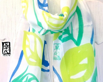Hand painted Silk Scarf Floral, Green Vine Leaves Scarf, Green Silk Scarf, White Scarf, Silk Scarves Takuyo, 8x54 inches, Made to order,