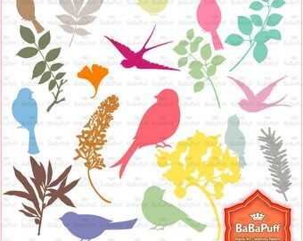 Instant Downloads, Digital Birds and Leaves Silhouettes Clip Art. Personal and Small Commercial Use. BP 0743