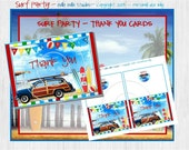 SURF Party - BEACH Party -  Instant Download Printable THANK You Cards by Bella Bella Studios