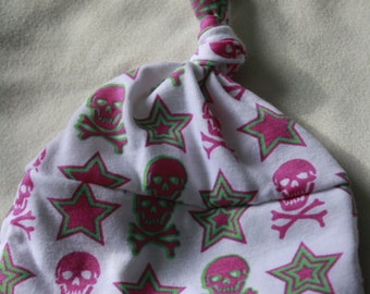 Stars and Skulls Top Knotted Newborn Hat