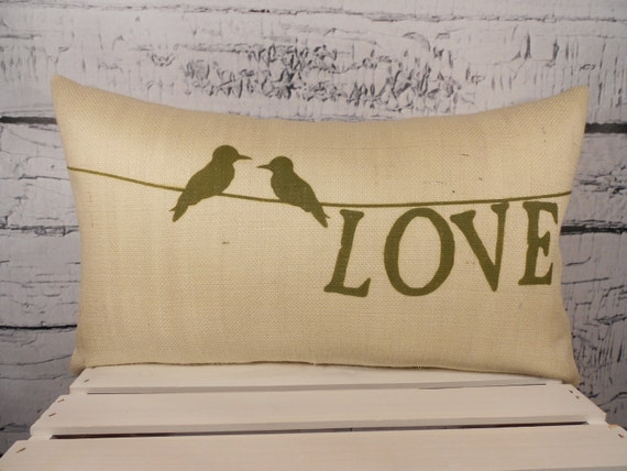 Birds on a wire burlap pillow cover with LOVE - can be personalized with names and date - 12X20 - Pillow Insert Sold Separately