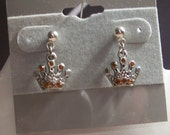 "Dangle Crown Earrings, Golden Amber Crystal Accents, 3/4"" long. Sugical Steel posts. Tibet Silver Crown. FREE Shipping"