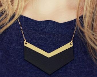 Wooden Chevron Necklace (Black - Gold) Geometric Shape Jewellery - Modern Handmade Jewellery