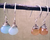 Chalcedony Drop Earrings, Gemstone Jewelry, Bridal Jewelry, Minimalist Jewelry, Wire Wrapped Earrings, Handcrafted Earrings, Gift for Her