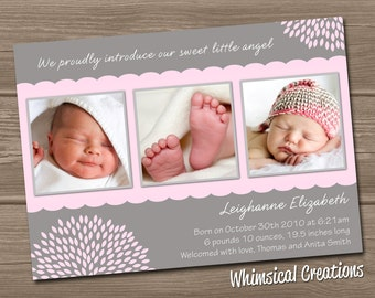 Baby Girl Birth Announcement (Digital File) Leighanne - I Design, You Print