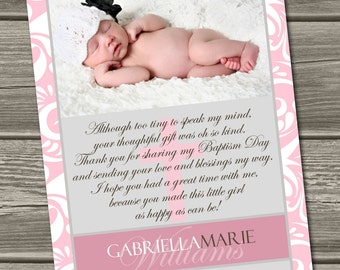 Christening Thank You Card, Baptism Thank You Card (Digital File) I Design, You Print