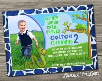 Reptile Themed Birthday Invitation (Digital File) - I Design, You Print
