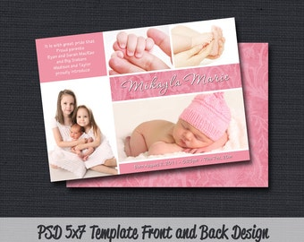 INSTANT DOWLOAD - Birth Announcement Template (Girl BA 20) Photographer Template