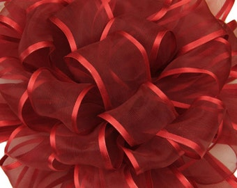 """CLEARANCE!! Wired Ribbon, 7/8"""" wide, Red Sheer, Satin Edge - THREE YARD RoLl - Offray """"Arabesque"""" Red, #376 Wedding, Prom Wire Edged Ribbon"""