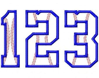 "Baseball Stitch Applique NUMBER Set - Machine Embroidery Design - 4"", 5"", 6"", 5X7 Hoop"